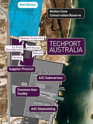 A map of Techport at Port Adelaide.