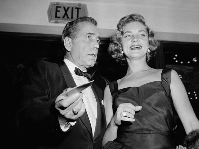 Bogie and Bacall ... Humphrey Bogart, left, and his wife, Lauren Bacall in 1955.
