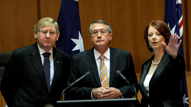 Martin Ferguson, Minister for Resources and Energy; Minister for Tourism, PM Julia Gillard and Deputy PM Wayne Swan last week Picture: Kym Smith