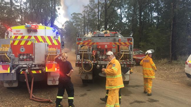 Rural Fire Services firefighters in action just outside Cessnock. Picture: Peter Lorimer