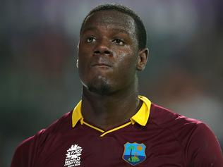 KOLKATA, WEST BENGAL - APRIL 03: Carlos Brathwaite of the West Indies looks on during the ICC World Twenty20 India 2016 final match between England and West Indies at Eden Gardens on April 3, 2016 in Kolkata, India. (Photo by Jan Kruger-IDI/IDI via Getty Images)