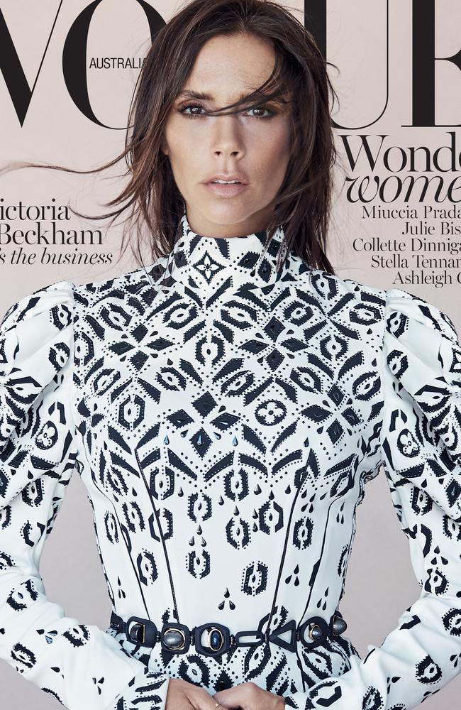 Victoria Beckham fronts the cover of the August issue of Vogue Australia.