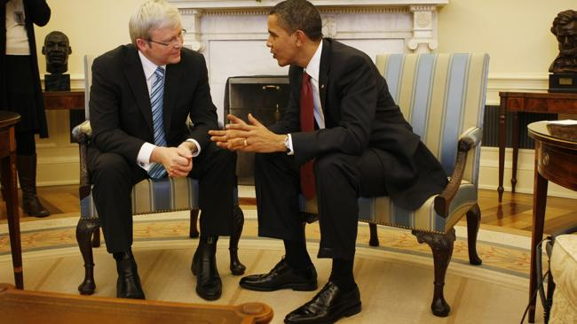 Prime Minister Kevin Rudd meeting with US President Barack Obama at the White House in 2009.