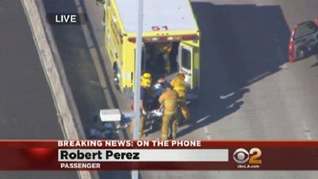 A person being loaded into an ambulance after a shooting at LAX airport. Picture: KELOLAND.COM