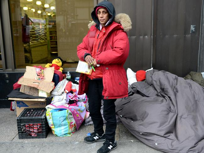 Sharmaine, 41, has lived with her husband outside New York Penn Station for more than a year. Picture: Alex Towle