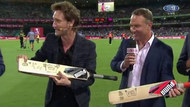 Lior Suchard with Michael Slater during the Twenty20 match on Sunday night.