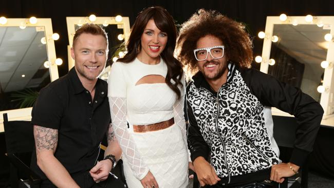 The new X Factor judges: Ronan Keating, Dannii and Redfoo from LFMAO.