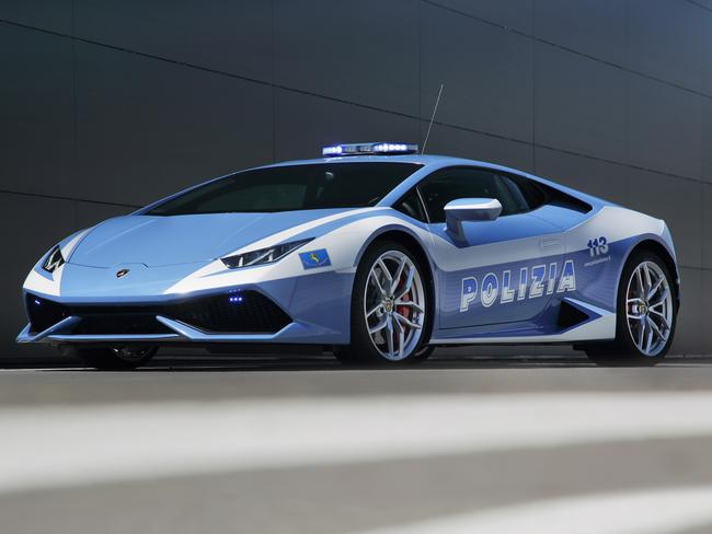 Slick design ... the Lamborghini Huracan police car.