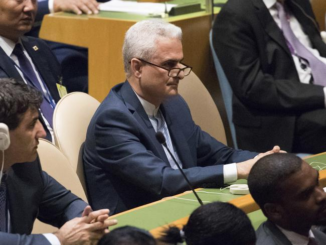 Members of the Iranian delegation listen as US President Donald Trump criticises its government at the UN headquarters in New York. Picture: AP Photo/Mary Altaffer