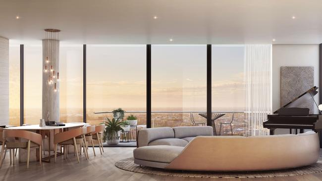 Artist's impression of an apartment in the currently under-construction Realm Adelaide complex.