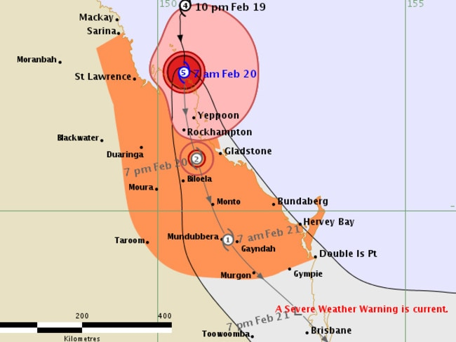 Forecast track map for Cyclone Marcia from the Bureau of Meteorology.