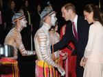 Duke and Duchess of Cambridge, Prince William and Catherine visited Elizabeth in Adelaide, pictured at Northern Sound System where they greet some indigenous performers. Picture: Naomi Jellicoe