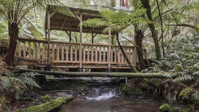 This private picnic area sits atop one of the property's waterfalls.