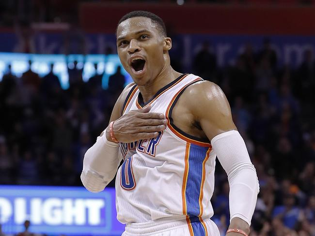 Oklahoma City Thunder guard Russell Westbrook reacts after hitting a late three-pointer v Washington.