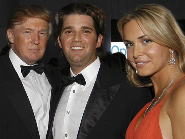 Donald Trump with his son Don Jr and wife Vanessa in an undated photograph. Picture: Supplied