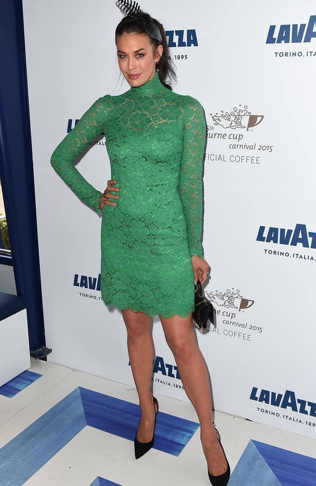 Megan Gale went green for the Lavazza marquee at the Birdcage on Melbourne Cup Day. Picture: AAP Image/Dan Himbrechts.
