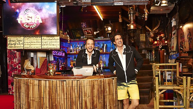 Hamish Blake and Andy Lee inside The Raintree, the Bangkok pub from which theyll broadcast their Hamish and Andys Gap Year Asia show on Monday night. Picture: Channel Nine
