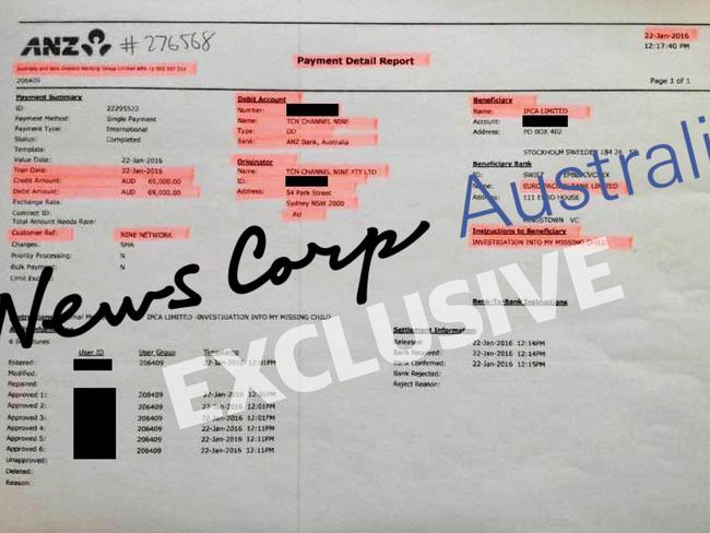 ANZ Payment Detail Report showing payment of $69,000 from TCN Channel Nine Pty Ltd to Adam Whittington for Investigation Into My Missing Child.