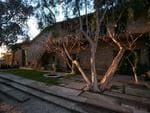 Pictured: Front entrance landscaping. Ellen Degeneres lists Santa Barbara house for sale. Picture: Jim Bartsch
