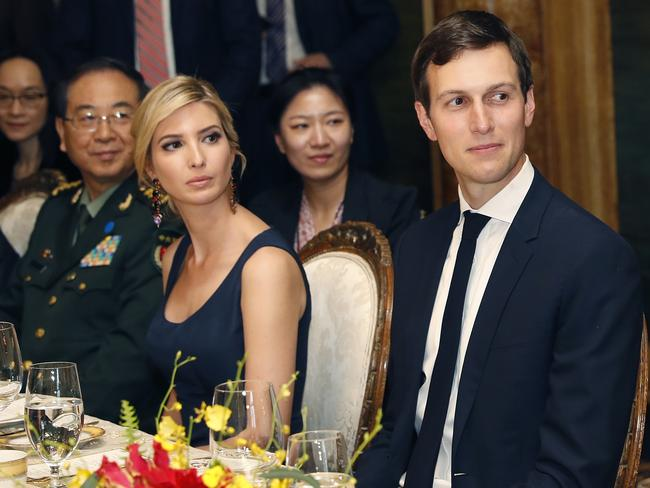 Ivanka Trump next to her husband, White House senior adviser Jared Kushner, during a dinner with Chinese President Xi Jinping at Mar-a-Lago, Florida. Picture: AP Photo/Alex Brandon