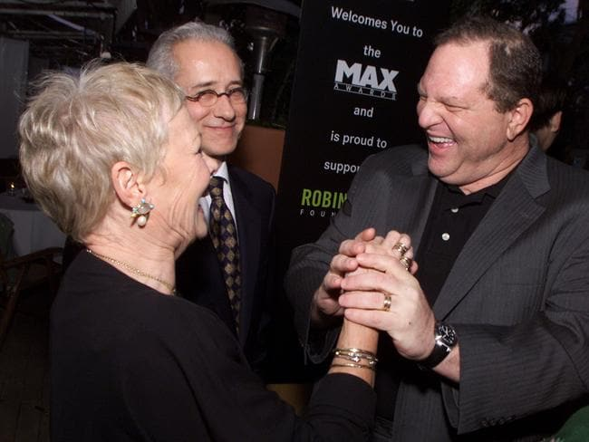 Dame Judi Dench with Harvey Weinstein in 2002. Picture: Kevin Winter/Getty Images