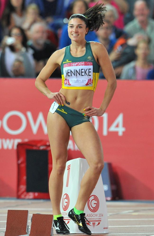 Australia's Michelle Jenneke before the start of the 100m hurdles final.