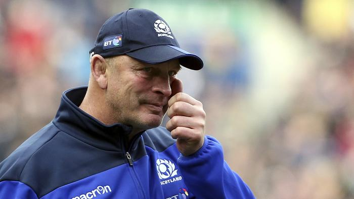 Outgoing Scotland coach Vern Cotter sheds a tear after beating Italy.
