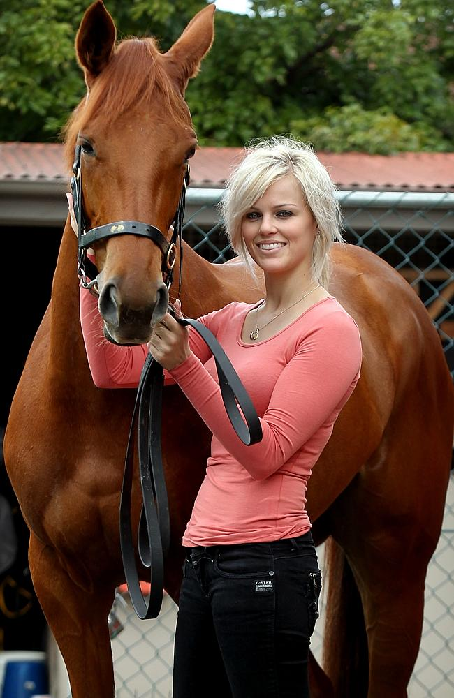 30/05/2012 Queensland Oaks promo. Kiaarn Holland with racehorse Quintessential.