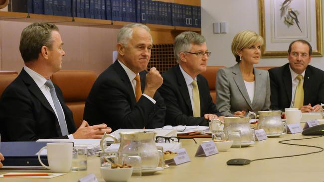 Malcolm Turnbull chaired the inaugural meeting of the Government's Innovation and Science Committee of Cabinet at Parliament House this month. Picture: Ray Strange
