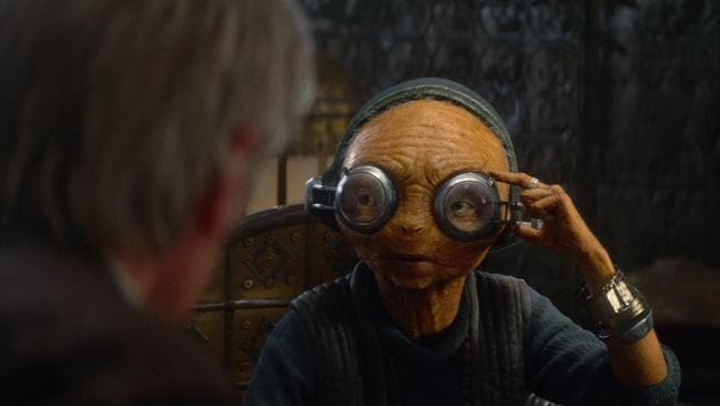 Maz Kanata (played by Lupita Nyong'o) in a scene from film Star Wars: The Force Awakens.