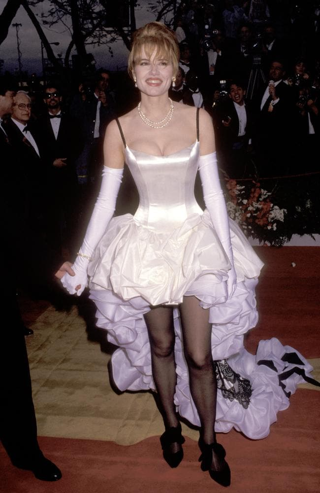 Nominated for her role in classic filck 'Thelma And Louise' Geena Davis is better-remembered for the shocking 'mullet-shaped' frock created by costume designers Ruth Meyers and Bill Hargate. Picture: Ron Galella/WireImage