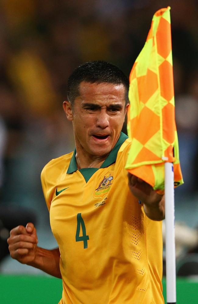 Socceroos star Tim Cahill celebrates scoring another memorable international goal.