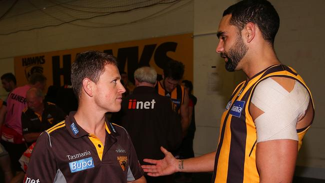 Brendon Bolton chats with Shaun Burgoyne. Photo by Michael Dodge