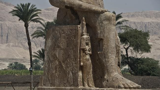 Seat of kings ... The new statue of pharaoh Amenhotep III and his wife Tiye join the exis