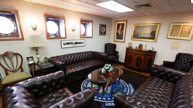 Commanding officers import cabin on the USS George Washington Aircraft Carrier. Picture: Jeff Camden