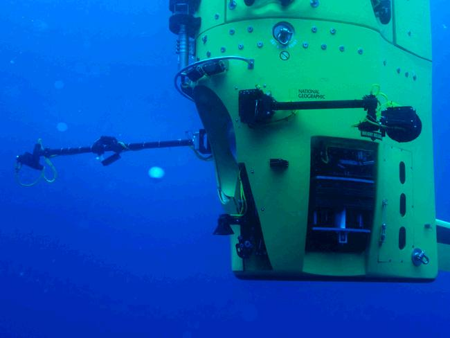 Seen here being tested in Australian waters on March 9, 2012, The Deepsea Challenger is the submersible that explorer and filmmaker James Cameron will pilot to the bottom of the Mariana Trench. Picture: EPA / Mark Thiessen / DEEPSEA CHALLENGE