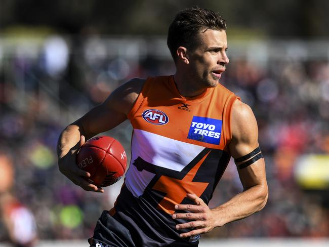 Brett Deledio of the Giants in action.