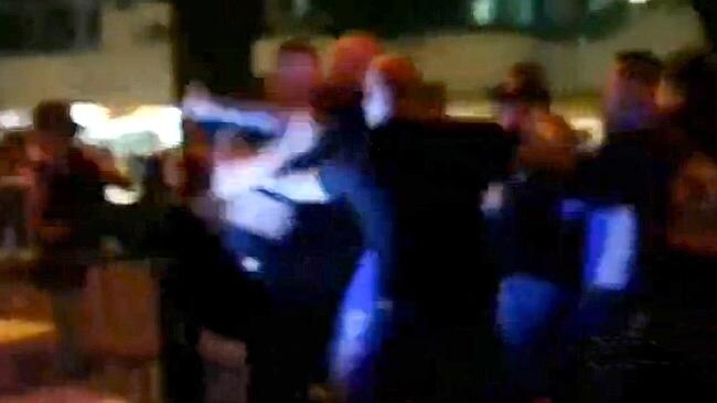A still from vision captured during a violent bikie brawl at Broadbeach on the Gold Coast.