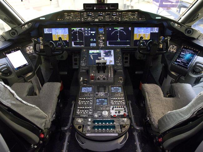 Flight deck of the Boeing 787 Dreamliner. Picture: Charles Brewer