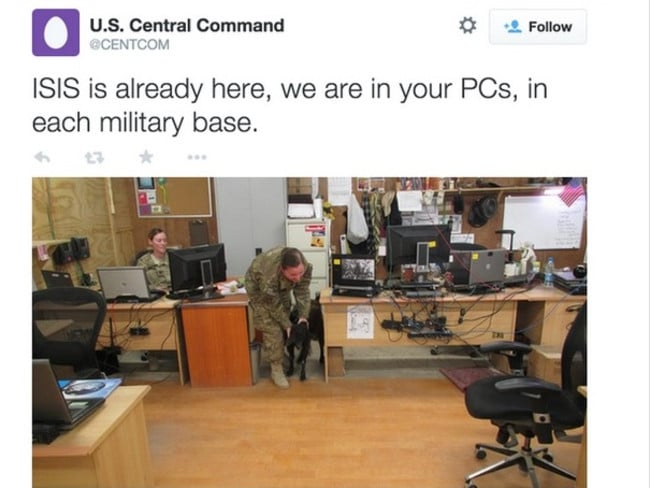 Chilling message ... the hack contained images and details of US military personnel.