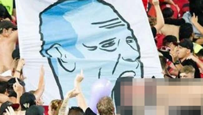 The homophobic banner unfurled by Wanderers' supporters.