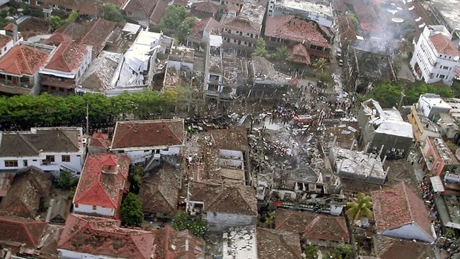 An aerial photo shows the extent of the damage following the terrorists' attack in Bali. Picture: HWT library