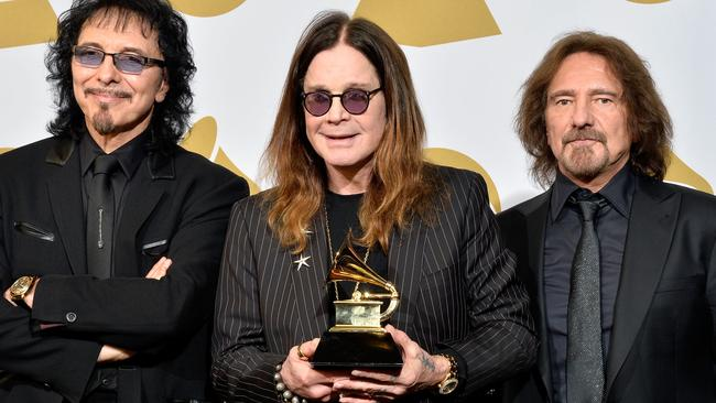 Last goodbye ... Tony Iommi, Ozzy Osbourne and Geezer Butler pictured at the last Grammy's are heading out on one final tour. Picture: Getty