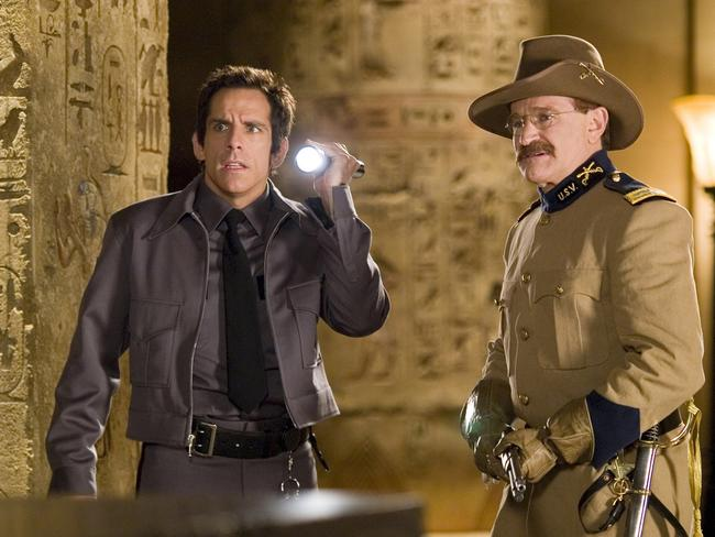 Ben Stiller and Robin Williams in a scene from 2006 film 'Night at the Museum'. Picture: Ap