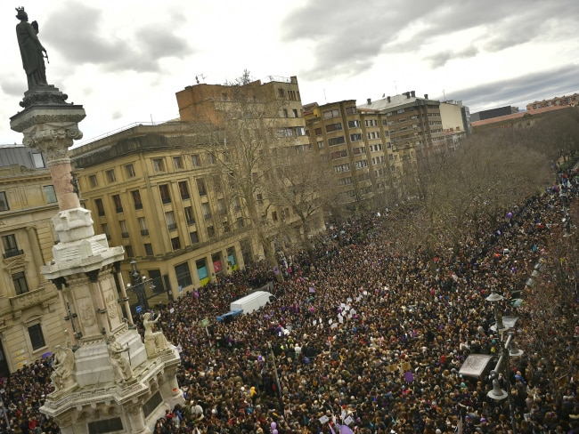 Tens of thousands of demonstrators protest male violence against women in Pamplona, northern Spain. Photo: AP/Alvaro Barrientos