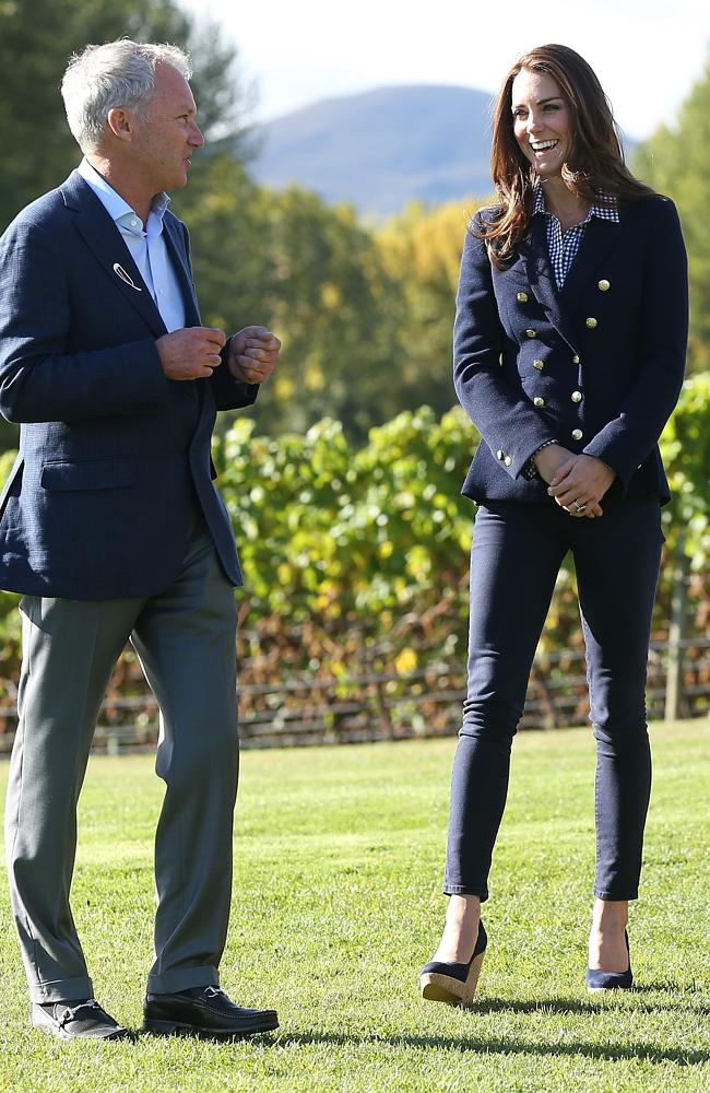 Visit ... Catherine, the Duchess of Cambridge, chats to John Darby, co-owner of the Amisfield Winery.