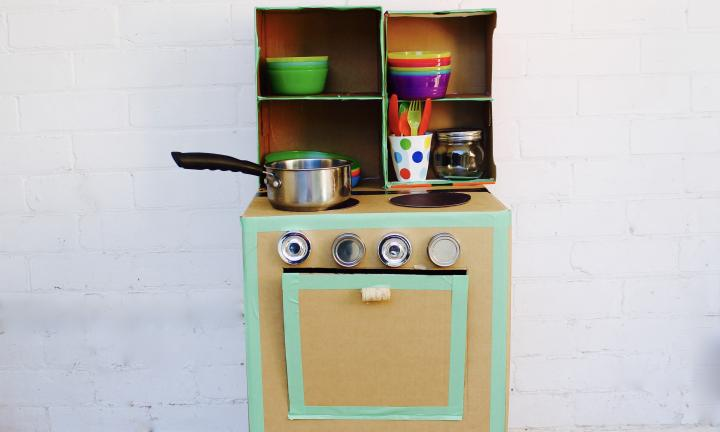 DIY cardboard cubby kitchen