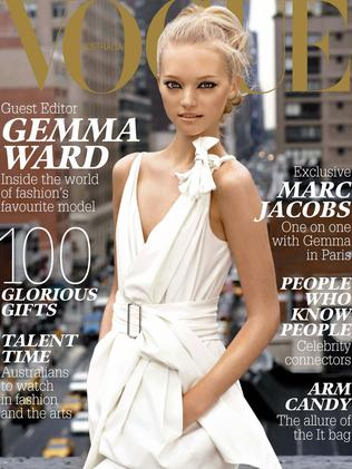 "Gemma Ward on the cover of ""Vogue Australia"" in 2005."