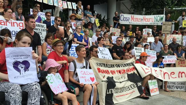 Huge crowds of protesters rallied outside the hospital on Saturday. Picture: AAP/Nathan Paull