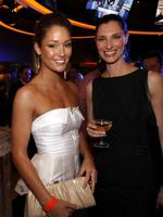 <p>Erin McNaught and friend at the Sports Theatre Bar opening at Star City Casino in Sydney. Picture: James Croucher</p>